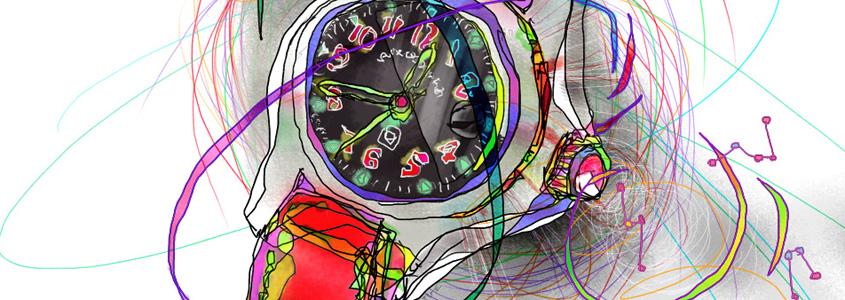 自由な線で遊ぶドローイング。 モノの周り、時計の周りの時空間。次元の歪みが流れていく。