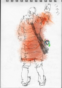 茶色のロングのダウンコート