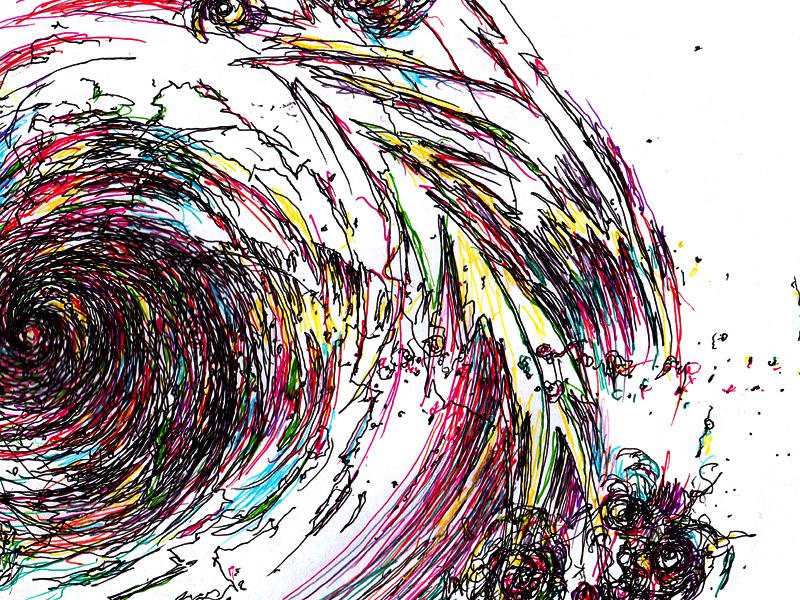 流渦ドローイングスCosmic Rainbow ブラックフォールに落ちる虹